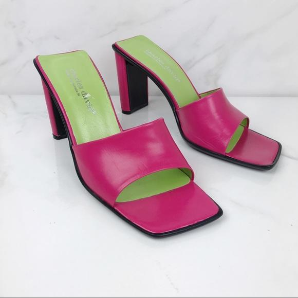 8b9f89fb32a0c Charles David Pink Vintage 90s Y2K Mules Heels 8